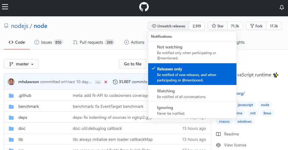 Watch releases in a GitHub project